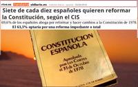 Siete de cada diez españoles quieren reformar la Constitución
